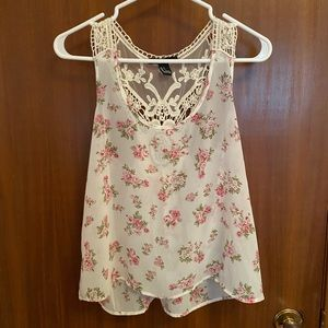 Forever 21 White & Pink Floral Chiffon Tank Top